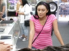 Latina pawns her old mink coat and fucked at the pawnshop