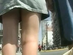Street candid video shows girl with a firm bottom.