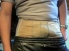 Shiny Adidas Chile trackies with pissed underwear, wanking