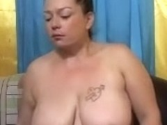 Big breasted wifey shows off her huge nice-looking a-hole