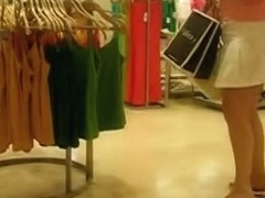 Chubby blonde hoe is caught for an upskirt video