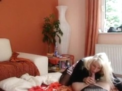 Smoking hot blonde girl fucks her bf in the living room