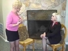 Two blonde lesbo grannies getting it on