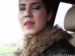 Teen in coat sucks and fucks in public