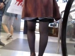 Stockings upskirt on escalator 2