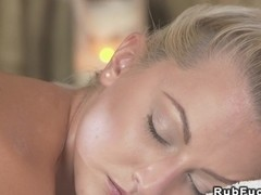 Sexy blonde gets creampie from masseur