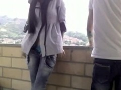 Excited GF Sucks Her Boyfriends Coarse Shaft On Balcony
