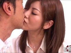 Beautiful Japanese babe gets sloppy tongue fucking and hardcore pounding