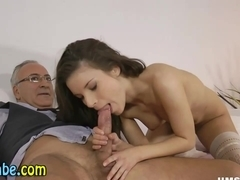 Teen in stockings sucks old guy