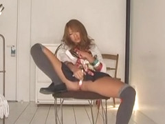 Best Japanese girl Rio Sakura in Incredible Stockings, Masturbation JAV clip