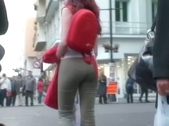 Sexy ginger in tight pants voyeur video for free