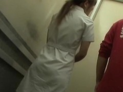 Cute nurse staying calmly even when getting sharked