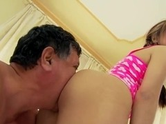 Leila Black secuced a grandpa and swallowed his wiener
