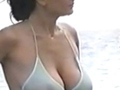 hot big tit mom at the beach