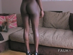 Busty ebony Brit interracial casting