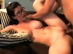 Big-titted nerd sucks and fucks with passion