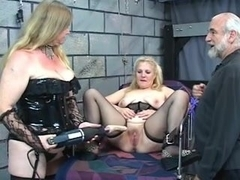 Ankle tied golden-haired acquires drilled with industrial sex-toy
