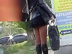 Great spy upskirt on a bus stop