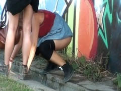 Amateur lost any shame and got peeing in public voyeured