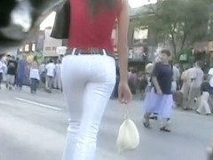 Super hot girl followed by a spy cam through a crowd