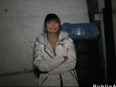 Hot Czech amateur brunette bangs in public