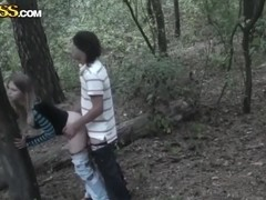 Skinny chick Angelina got used to getting orgasm in the doggy style in the park