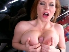 Sara Stone pay a auto mechanic guy with a hard tit fuck