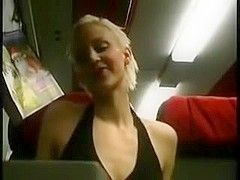 Carefree girl has sex on late night train