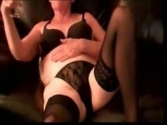 Hot wet mature woman in stockings