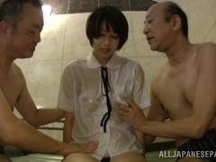 Riku Minato nice Asian teen in wet school uniform