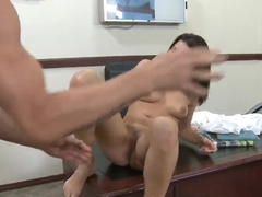Ann Marie Rios prefers blowjob with Billy Glide in the office