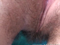 Sativa Verte uses a hitachi to get off her hairy pussy.