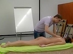 Exposed dilettante massage demonstration - captivating skinny brunette hair