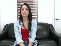 Cute and pretty brunette babe, Natalie Heart, came for an audition