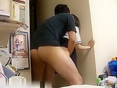 Japanese amateur couple in action