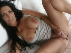 Milf who likes fingering fucks her bun with a fat dildo