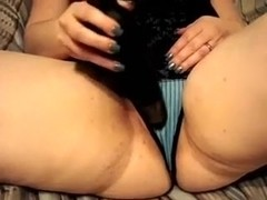My immoral big beautiful woman wife pulls her undies aside and pokes her bawdy cleft with fake pen.