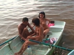 Hard college anal and bawdy cleft fucking in the boats