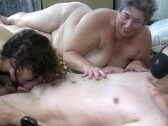 OldNanny Old and young chubby ladies and two guys have group sex