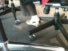 Shoe teasing below the desks...