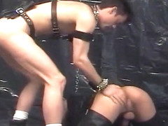 Leather Daddy Dominates in Dungeon