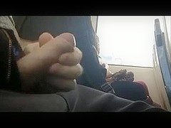 Wanking in train