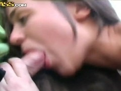 """Couple of guys """"picked up"""" Frisky Cat and get fucked her right on street"""