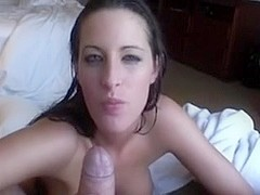 Sexy honey swallows a giant load on vacation