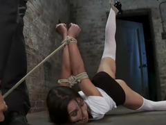 Girl next door is severely bound and gaggedWhite panties ripped of and made to cum like a whore.