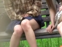 Bench sharking video of two tantalizing hotties receiving huge surprise