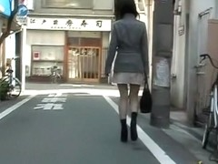 Tender dressed up babe having unexpected sharking experience on the street