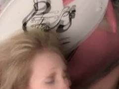 Young whore drinking piss and sucking cock