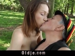 Russian Macy Nata takes old jizz in mouth