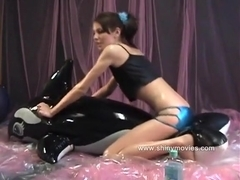 Lola is covered in babyoil she humps and grinds an inflatable pool toy till she cums